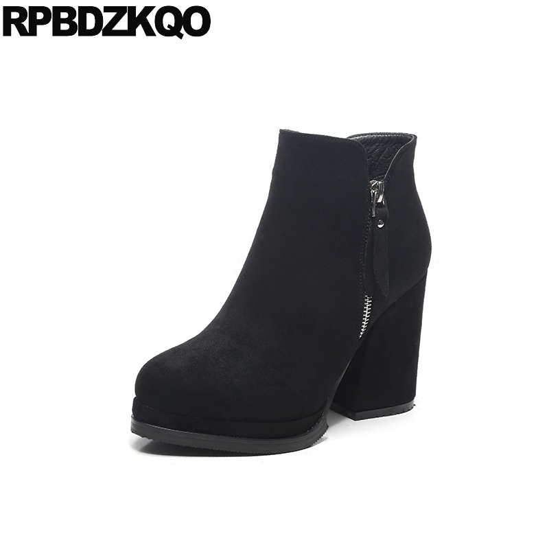 Women Boots Winter 2017 Zipper Ankle Booties Black Fashion Size 34 Shoes European Ladies Fur Chunky Suede High Heel Short Round ladies boots 2017 casual winter black suede round toe square heel ankle boots for women custum large size zipper shoes us 4 15 5