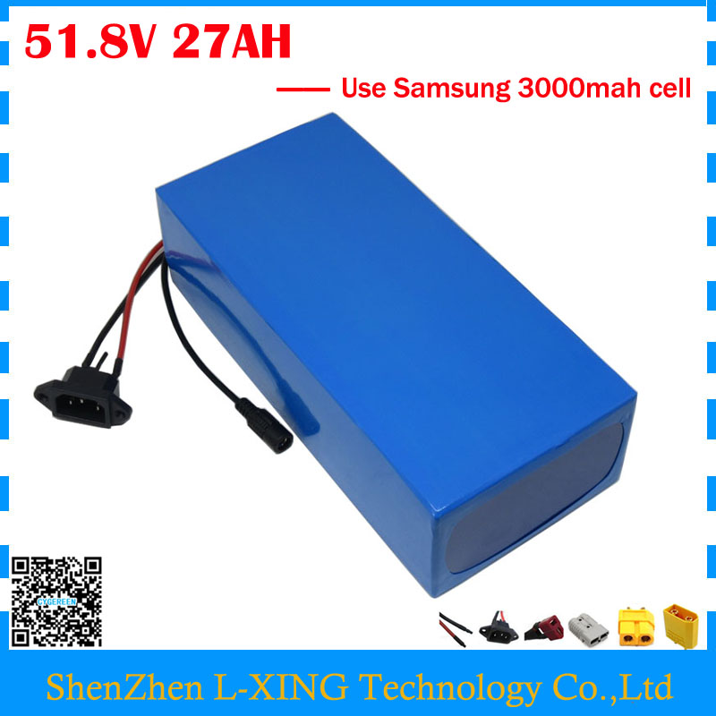 Free customs duty 51.8V bicycle battery 51.8V 27AH scooter battery 52V 27AH Lithium battery use Samsung 3000mah cell 30A BMS free customs duty 1000w 48v battery pack 48v 24ah lithium battery 48v ebike battery with 30a bms use samsung 3000mah cell