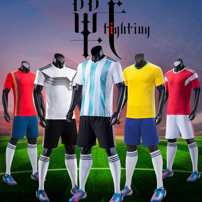 415cc9de5b5fb 2018 футбольный матч Спортивная одежда для взрослых и детей футбольная  команда на заказ Футбольные Майки футбольные