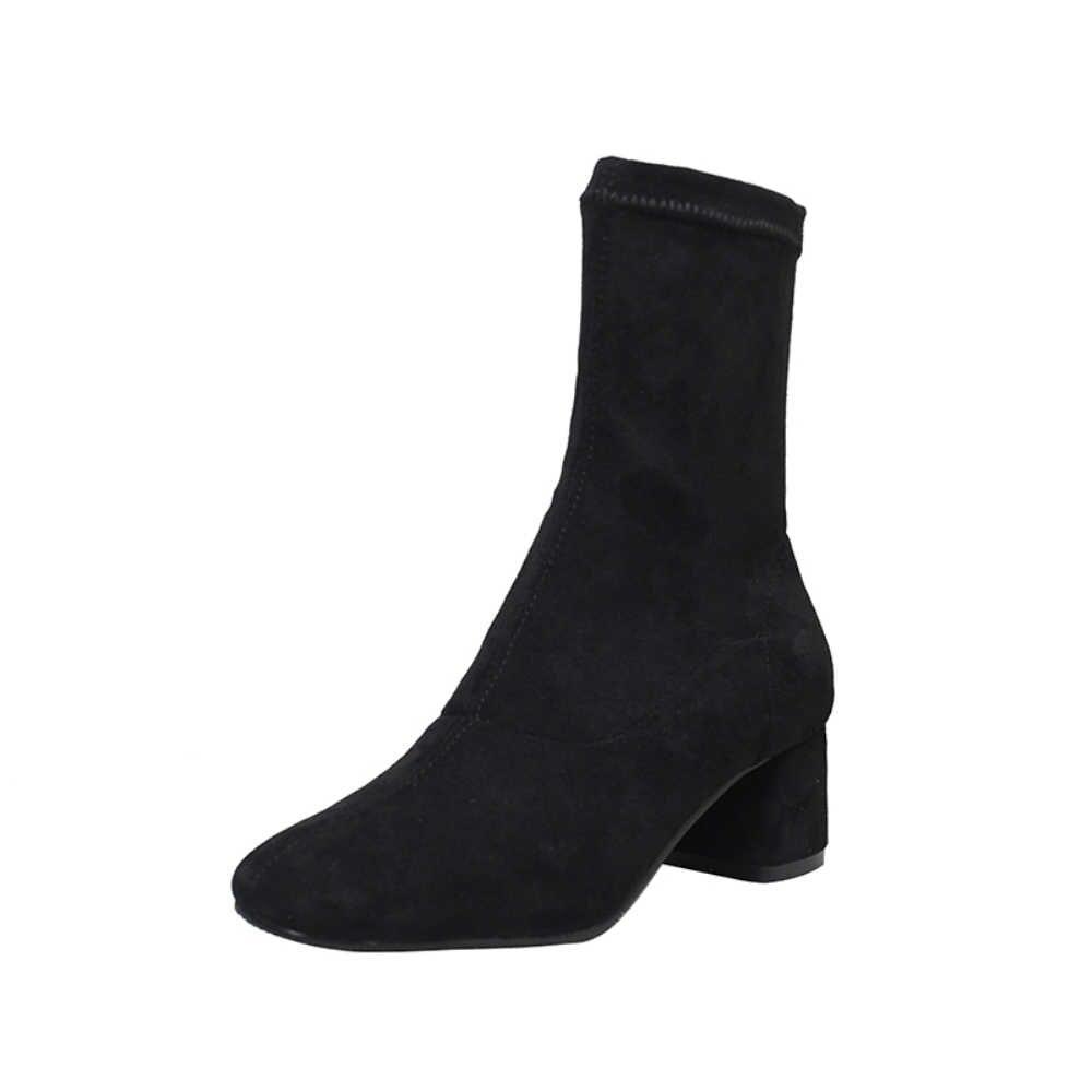 Новинка; эластичные носки; женская обувь; ботильоны без шнуровки; сезон весна-зима; элегантная обувь на высоком квадратном каблуке; женская обувь; большие размеры 33-43