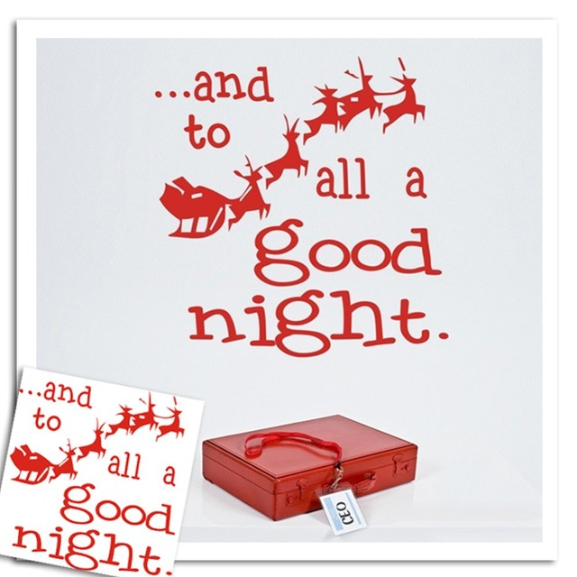 Santa Claus Christmas Wall Stickers Red Deer To All A Good Night Shop  Window Wall Art