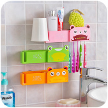 Fashion Multifunction Cartoon toothbrush holder sucker, toothpaste Cups powerful suction wall storage rack K4709