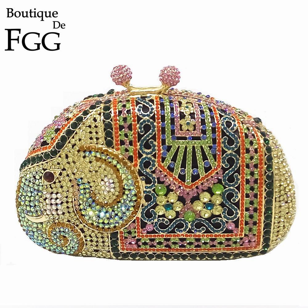 Boutique De FGG Multi Crystal Women Elephant Evening Purse Metal Minaudiere Handbag Bridal Clutch Wedding Party