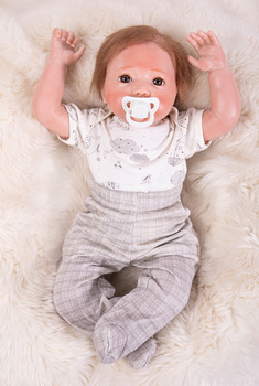 """Reborn 20"""" Soft Silicone Vinyl Dolls Silicone 50cm Reborn Baby Doll rooted hair realistic boy  toddler  Bebe kids birthday gift"""
