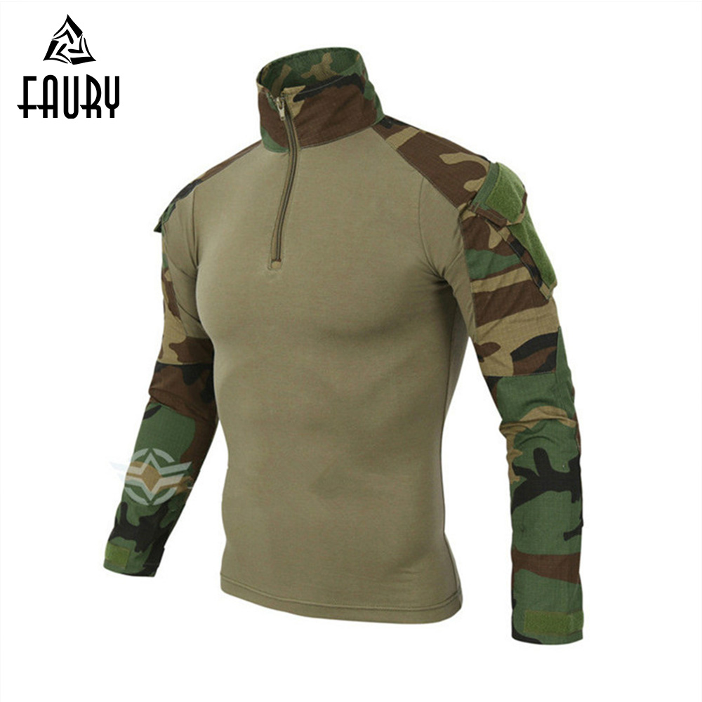 High Quality Tactical Military Uniform US Army Airsoft Camouflage Combat-Proven Shirts Rapid Assault Long Sleeve T-Shirt Battle