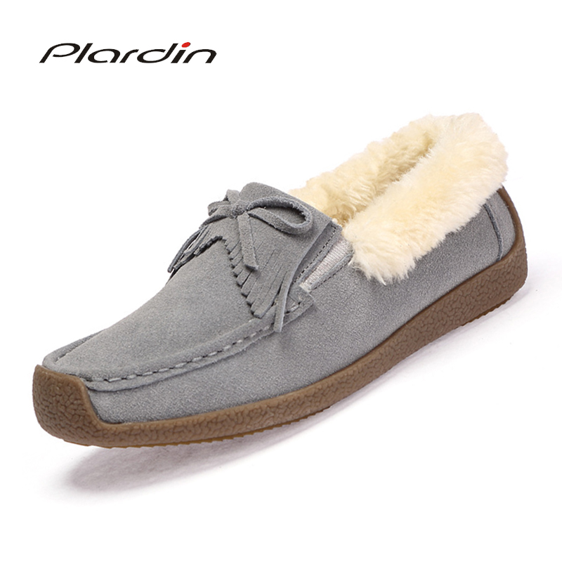 Winter Fur Women Loafers Slip-on Leather Ladies Flats Warm Plush Driving Boat Shoes Woman Moccasins New Casual Female Solid Shoe timetang casual cow leather women shoes keep warm cotton shoes woman shallow female flats fur loafers plush winter mother c281