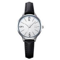 Sk Quartz Woman Wristwatch Top Brand Leather Stainless Simple Ultra Slim Waterproof Silver Ladies Clock Kadin Saat Birthdat Gift