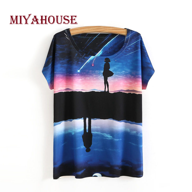 Broadcloth Female Summer T-Shirt Only Beautiful Starry Sky Design Loose Deep Color Lady Shirts Casual Cotton Round Neck Tops