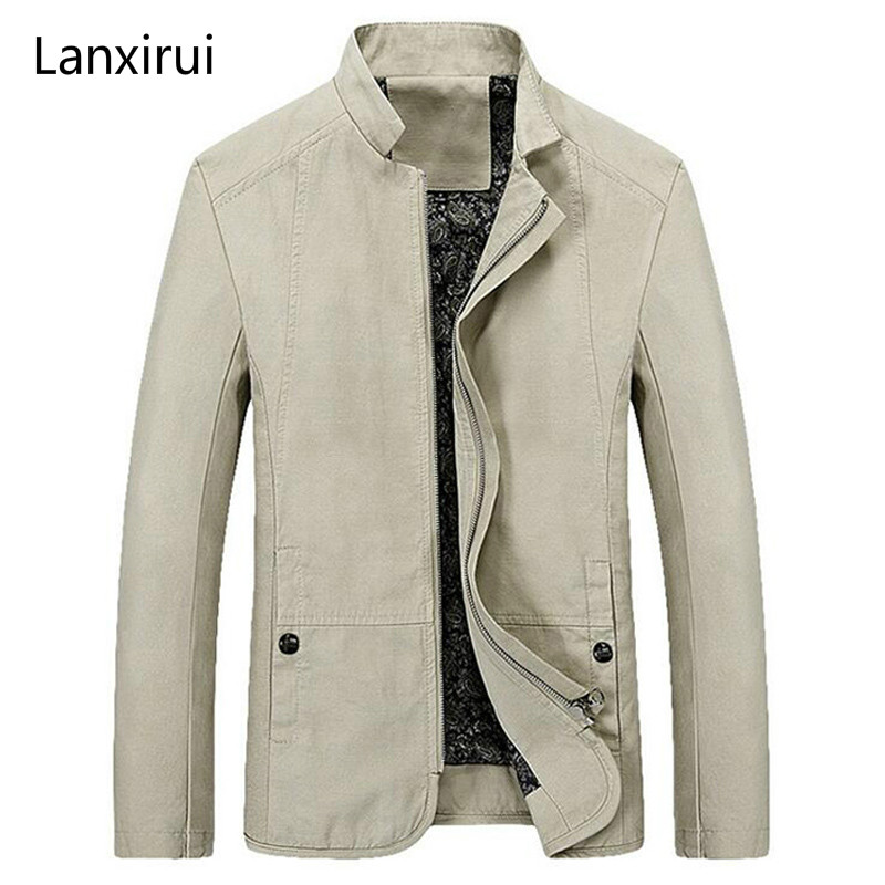 Spring Autumn Men's Jacket Casual Slim Fit Solid Color Coat Zipper Stand Collar Outwear MWJ1778