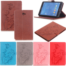 Tablet T580 T585 Funda For Samsung Galaxy Tab A A6 10.1 2016 Fashion Butterfly Emboss Leather Flip Wallet Case Cover Coque Stand film stylus aoruiika new fashion stand leather case cover for samsung galaxy tab a6 a 10 1 t580 t585 t585n tablet capa funda