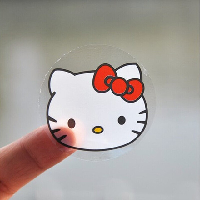 "100PCS ""Hello Kitty"" Seals Kraft Handmade Paper Sticker Labels Seal Favours Toppers Gift Cupcake Party"
