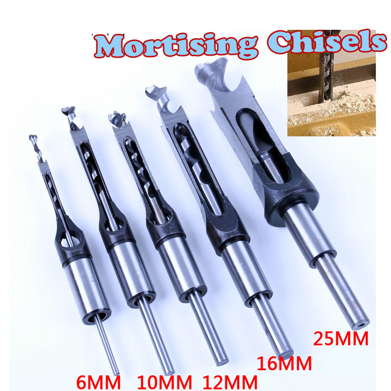 1pc HSS Square Hole Saw Mortise Chisel Wood Drill Bit With Twist Drill 4pcs woodworking square hole drill bits wood mortising chisel set mortise chisel bit kits woodworking hole saw sets with twist