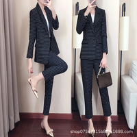 2019 autumn and winter women's suit new double breasted wave point professional suit casual slim trousers two piece