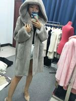 Women natural real mink fur coat long jacket mink coat outwear