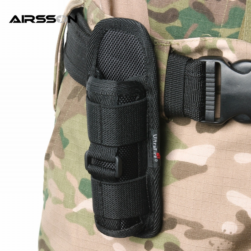 Tactical 360 Degrees Rotatable Flashlight Pouch Holster Torch Case for Belt Torch Cover Hunting Lighting Accessories цена