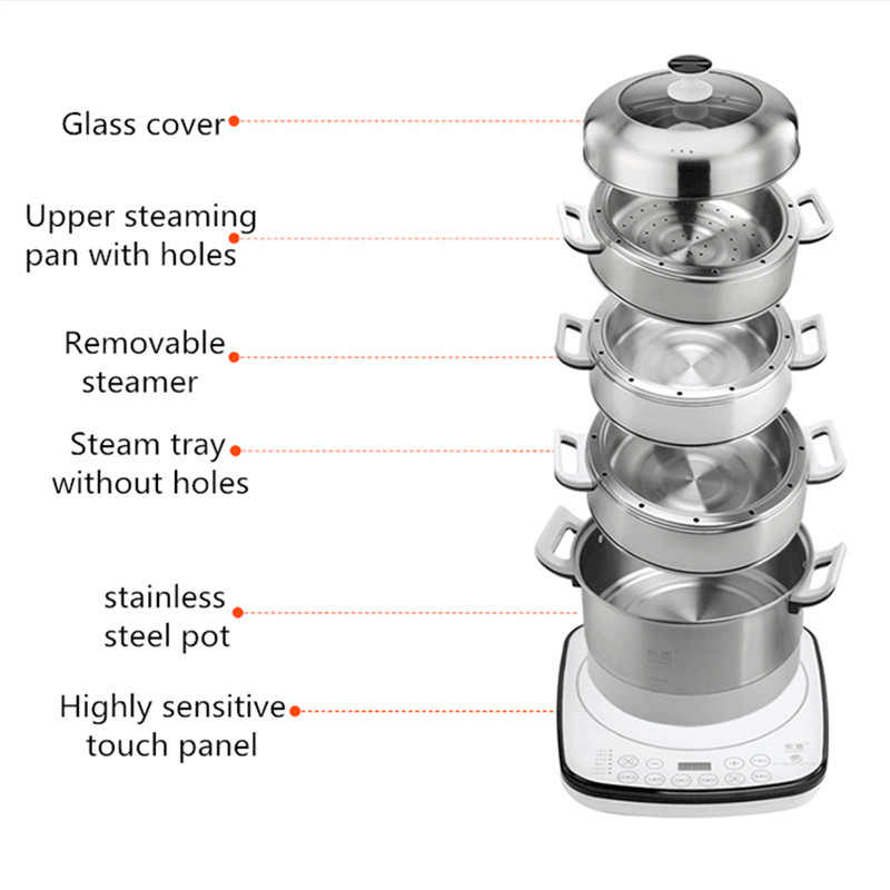 220V Multifunction Electric Steaming Pot Machine Automatic 4 Layers Stainless Steel Steamer Multi Cooker Steamed Food Pot EU/AU/