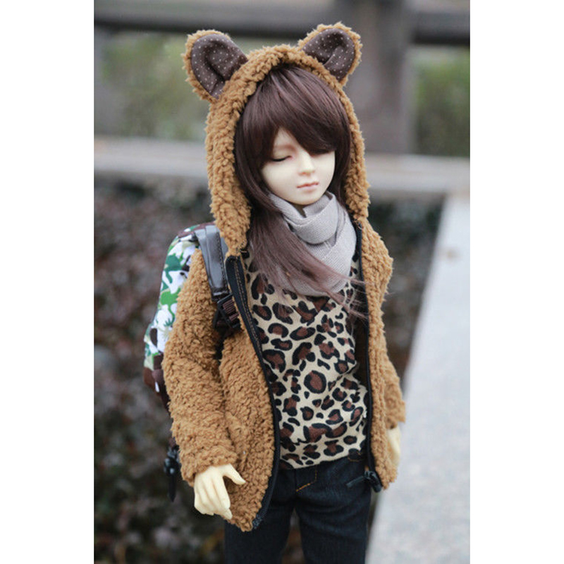 BJD Brown Plush Coat Outfits Top Clothing For 1/3 24
