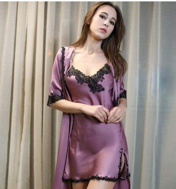 Новый 2017 Роскошный Шелковый Атлас Одеяние Устанавливает Дамы Сексуальные Кружева Спагетти Ремень V-образным Вырезом Платье Ночи И Халат Элегантный Домашней Одежды Халат