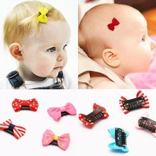 5 pieces / cloth bow small hairpin baby safety hair accessories gift (random colors)