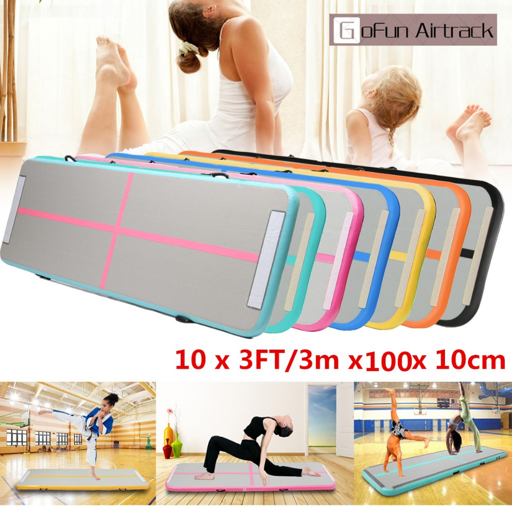 Gofun 118x35x4inch Gym Airtrack Floor Pad Home Gymnastics Tumbling Inflatable Rolling Mat Air track gofun airtrack 10ft x 3 ft air tumbling track mat gymnastics exercise pad inflatable gym training mats balance beam 110v air