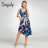 Sisjuly Women Summer Vintage Dress Floral Animal Print Rockabilly Bow Sashes Dresses Sleeveless Elegant A Line