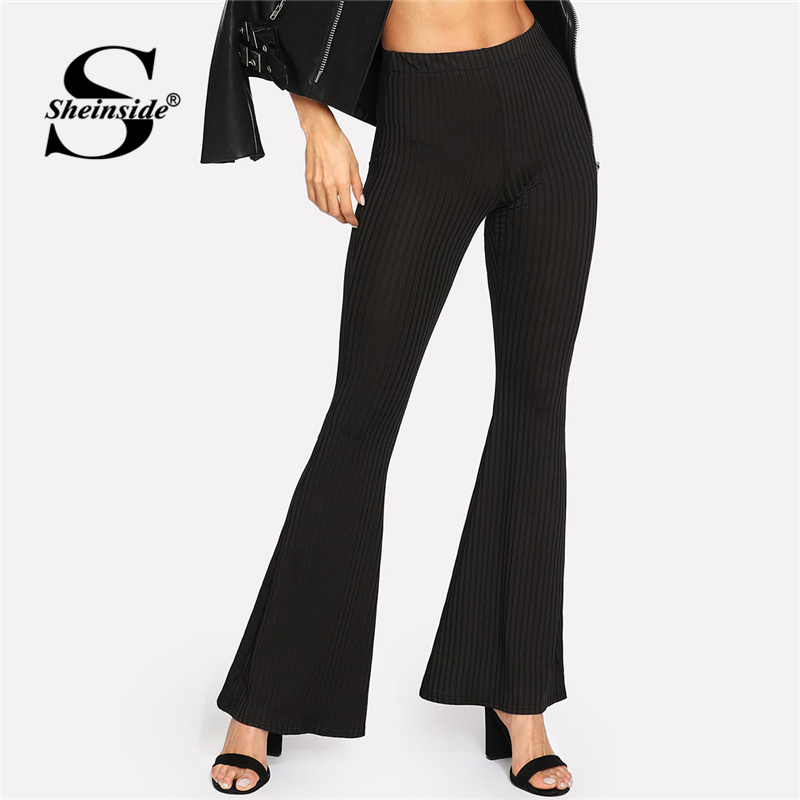 Sheinside Black Ribbed Flare   Pants   Elastic Waist Trousers Women Streetwear   Pants   and   Capris   2019 Autumn Elegant Flare Leg   Pants