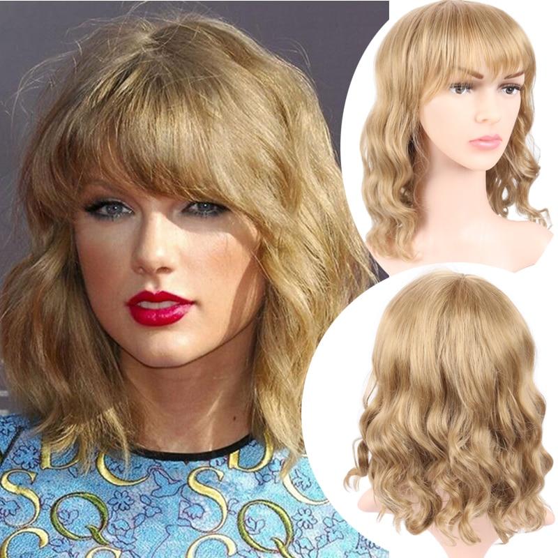 Honey Blonde Wig With Bangs Corn Perm Fluffy Yaki Hair Short Hair