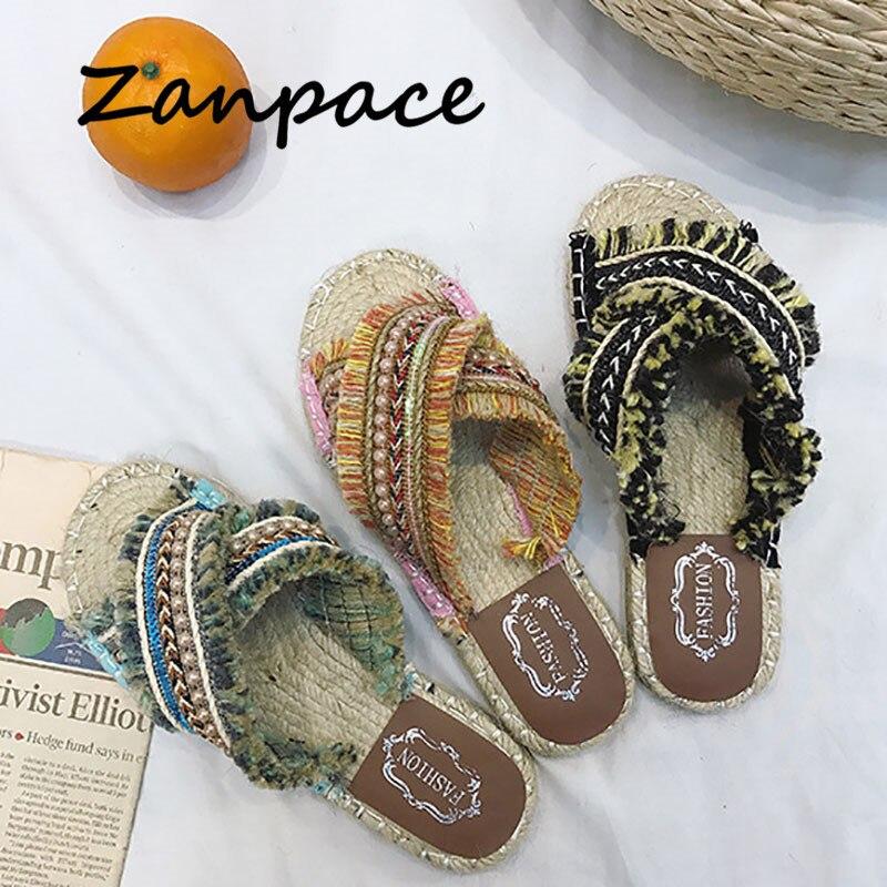 2019 женские льняные тапочки в богемном стиле полосатая лента пробковые сандалии домашняя обувь на плоской нескользящей подошве повседневные пляжные шлепанцы из соломы