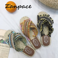 31375ceacf 2019 Bohemian Women Linen Slippers Striped Ribbon Cork Sandals Flat Non  Slip Flip Flop Home Shoes