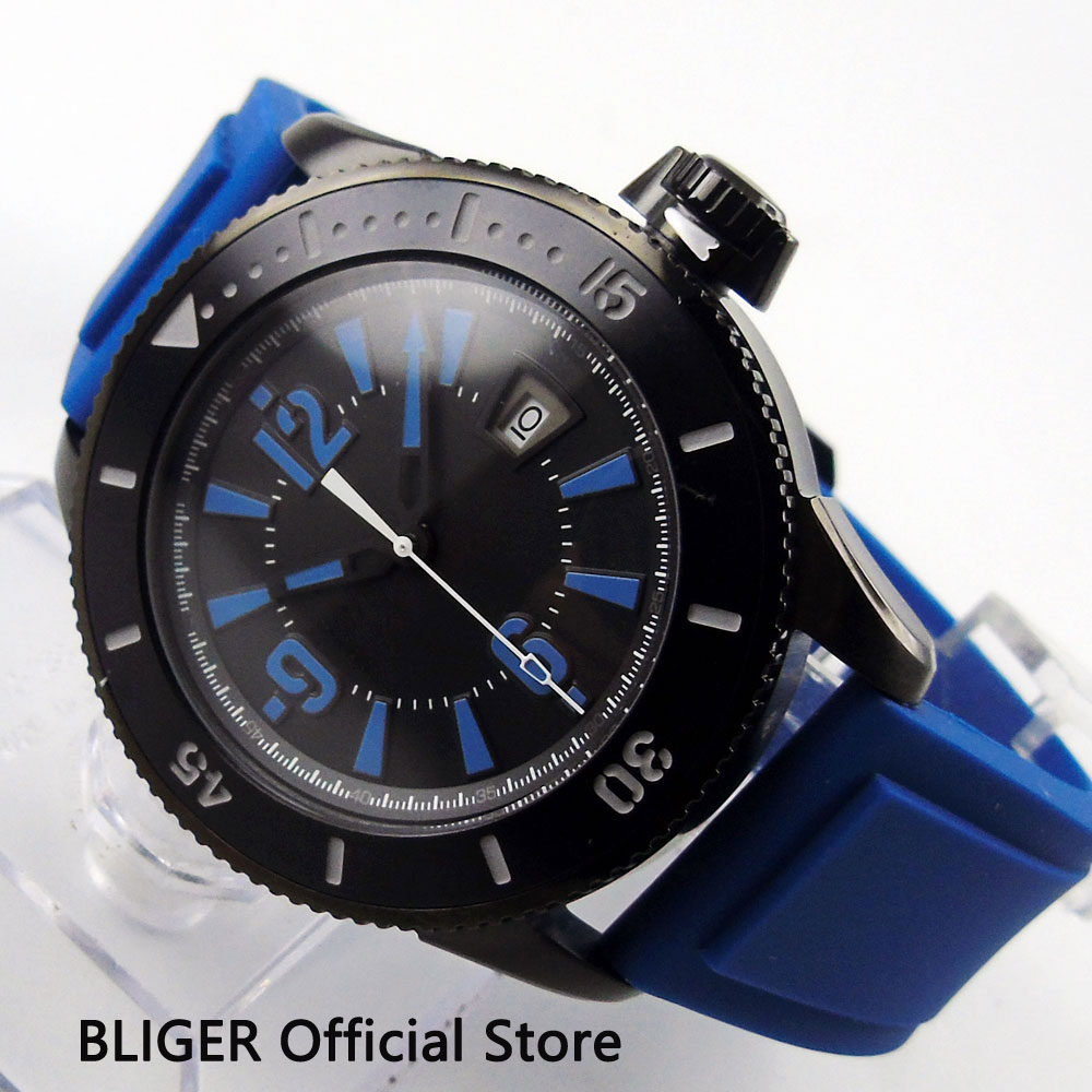 Classic 43MM BLIGER Black Sterile Dial Black PVD Coated Case Luminous Marks MIYOTA Automatic Movement Men's Wrist Watch BI8