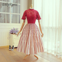 Red Lace Top High Neck Mother of the Bride Dresses Short Sleeve Ball Gown Pattern Elegant Ladies Par