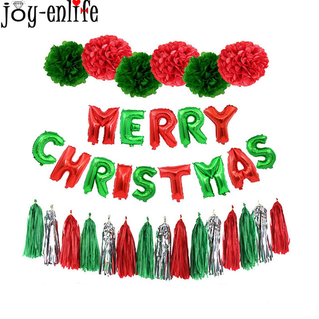 1set Christmas Red/Green Paper Flower Ball Tassel Banners Merry