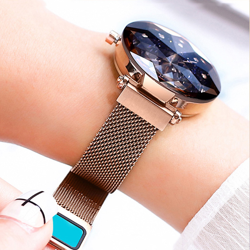 Fashion Casual Rose Black Women Watches  Luxury  Minimalism Starry Sky Magnet Buckle Female Wristwatch Crystal Scale Waterproof