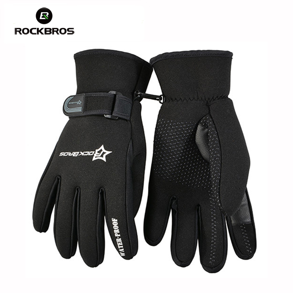 RockBros Outdoor Sports Full Finger New EL Full Finger Men Cycling Gloves mtb bicycle clismo Warm Screen Gloves