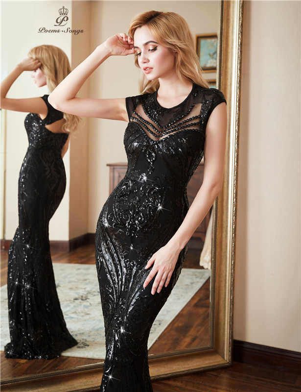 성격 이브닝 드레스 vestido de festa 섹시한 블랙 긴 스팽글 파티 드레스 정장 파티 드레스 vestido de mujer