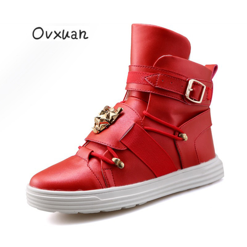 2019 Fashion Sneakers Metal Buckle Lion Face Big Tongue High Loafers Men  Flats Hip Hop Moccasins. US  33.15. Ovxuan Handmade Gold Spiked Loafers  Shoes ... a7cbc3aac691