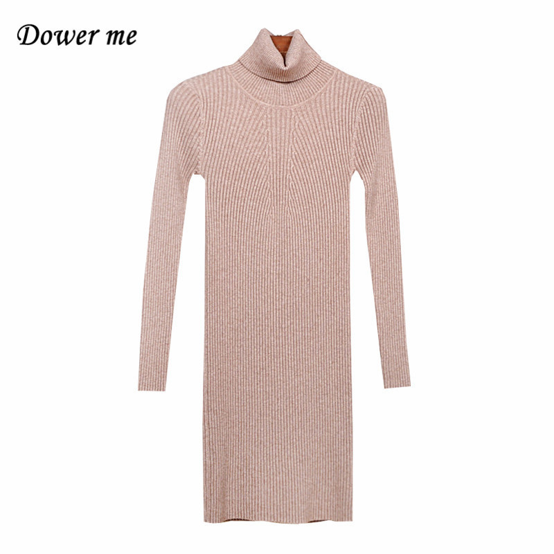 Fashion Casual Turtleneck Long Knitted Sweater Women Dress Vestidos Slim Bodycon Ladies  ...