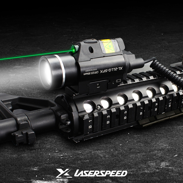 Laserspeed LS-CL2 Tactical Light Strobe With Green Laser For Shooting Hunting Rifle Pistol LED Weapon Lights Self Defence Laser