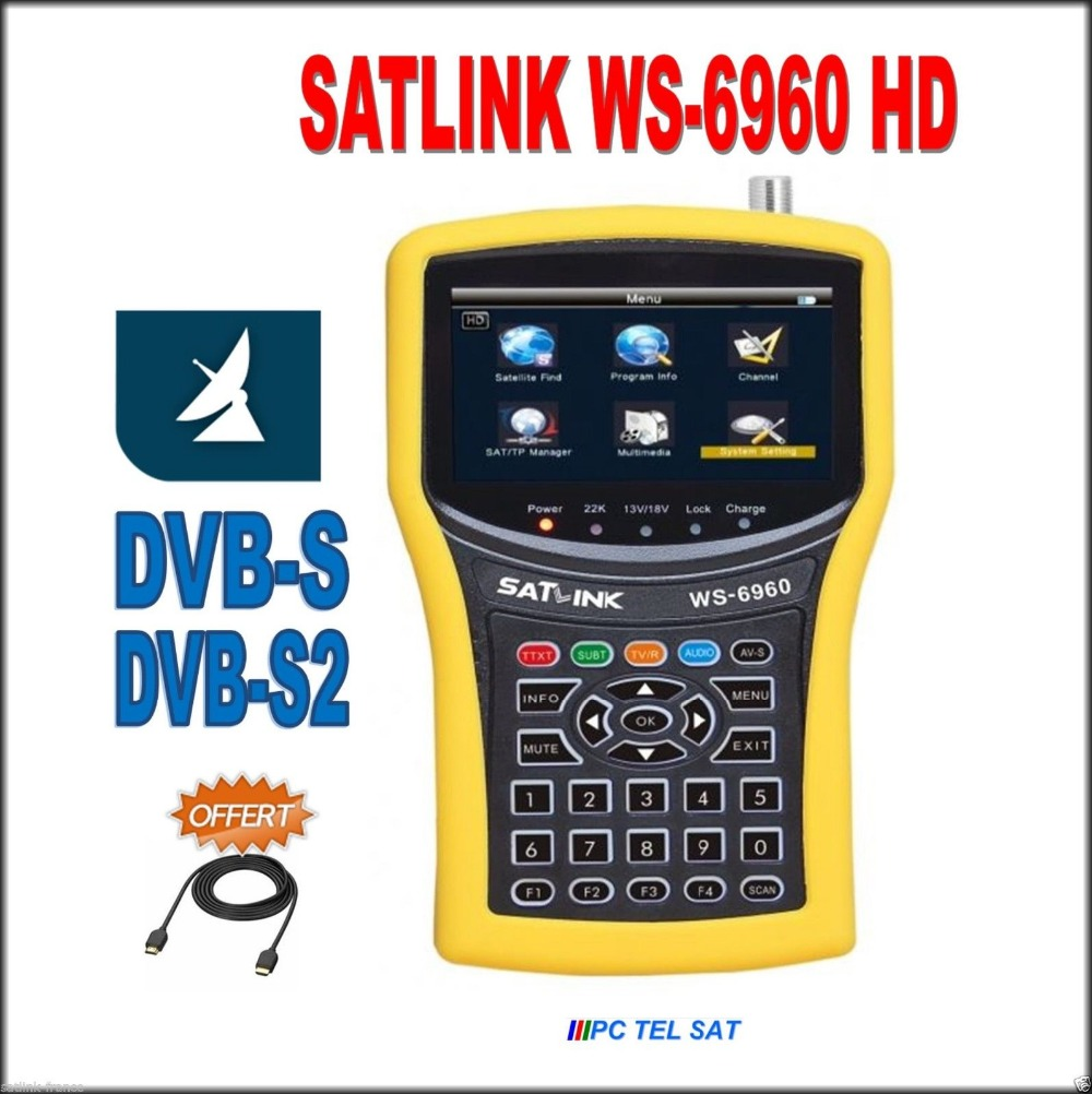 satlink ws-6960 free dhl dvb s2 4.3 inch HD display DVB-S2 HD MPEG4 satlink 6960 Satellite Finder Meter satlink 6960 original dvb t satlink ws 6990 terrestrial finder 1 route dvb t modulator av hdmi ws 6990 satlink 6990 digital meter finder