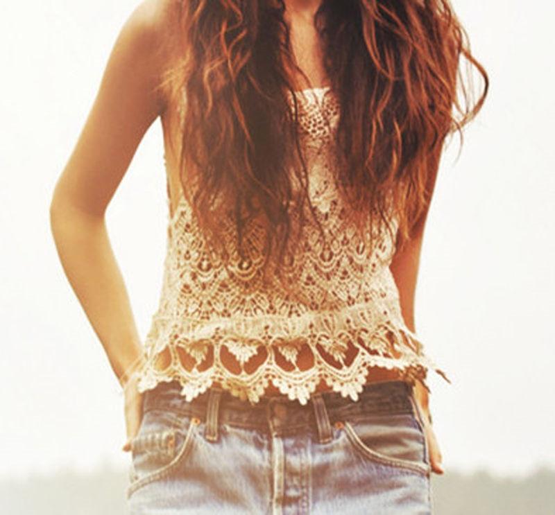 Vest Sexy Vintage T-Shirt Tops Lace Beach-Wear Boho Casual Women Summer Sleeveless Beige