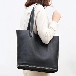 Image 2 - Sac à main en cuir véritable pour femmes, sac bonne qualité de luxe, sac de Shopping Simple pour dames, sacs épaule en cuir de vache de grande capacité décontracté