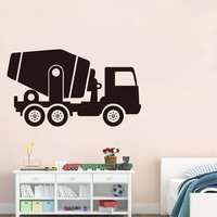 Soil Mixer Truck Wall Sticker Vinyl Removable Art Decal For Living Room Cartoon Vehicle Home Decor Wallpaper For Kids Room