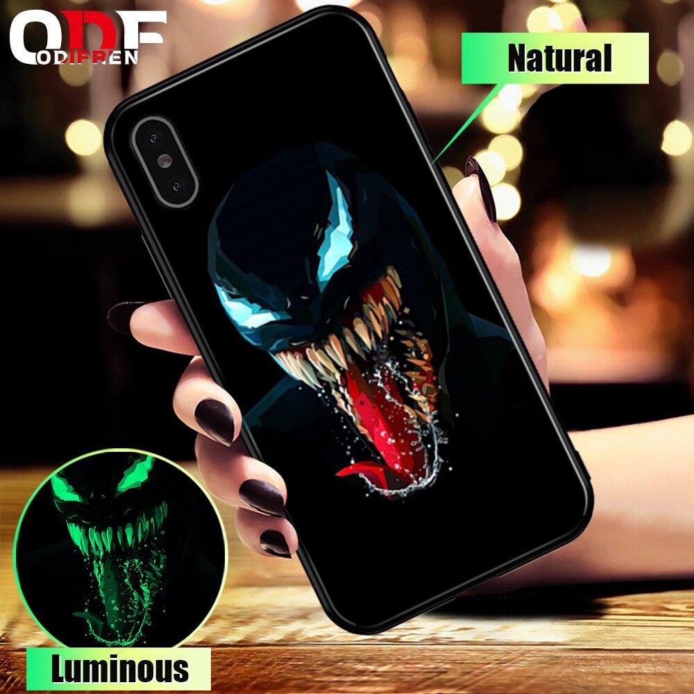 Marvel Venom Verre Cas Pour iPhone 7 8 Plus Cas Pour l'iphone X XS MAX XS De Luxe Silicone Téléphone Cas pour iPhone 6 s 6 s Plus