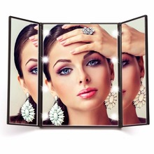 Portable Fashion LED Touch Screen travel Vanity Mirror Folding Table 8 LED Lights Luminous Professional Cosmetic Makeup Mirror