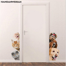 Funny 3d dog cat animal wall decoration stickers for the door Cute sticker Home kid room