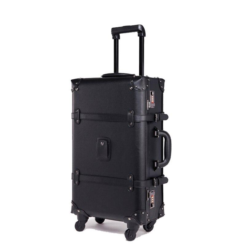BeaSumore rétro bagage à roulettes Spinner Vintage valise en cuir chariot à roues femmes sac de voyage hommes coffre porter des bagages