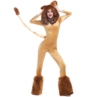 Deluxe Lion Costume Queen Of The Jungle Women S Fluffy Animal Jumpsuit With Leg Warmers Halloween