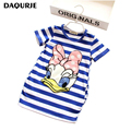 2016 Summer Girls Dress Cartoon Stripe Kids Dresses For Girl Clothes 2-7Y Children Vestidos Costume Roupas Infantis Menina