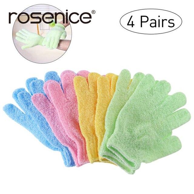4 пары душ отшелушивающие перчатки для ванны нейлоновые рукавицы для душа скраб для тела отшелушивающий