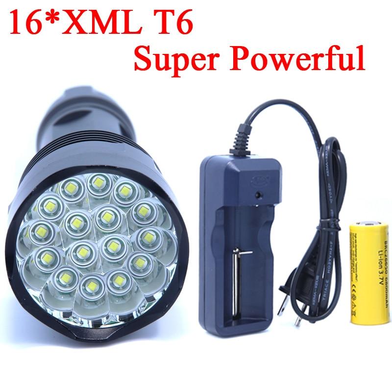 16T6 2017 New Design 22000LM 16 x XM-L T6 LED Flashlight Torch 26650 Battery Hunting Lamp Light Lantern 5 Modes